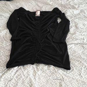 Black off the shoulder rouched ribbed dress